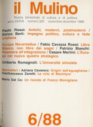 Copertina del fascicolo dell'articolo Resistere al''integrazione: l'Italia di fronte al 1992